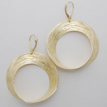 14K Yellow Gold Large Open Circle Earrings