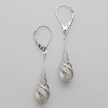 14K White Gold Triple Twist Earrings
