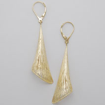 14K Yellow Gold Bugle Earrings