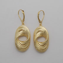 14K Yellow Gold Twisted Thick Oval Earrings