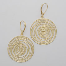 14K Yellow Gold Flat Spiral Disc Earrings