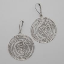 14K White Gold Flat Spiral Disc Potato Chip Earrings