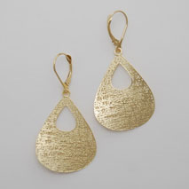 14K Yellow Gold Open Tear Drop Earrings