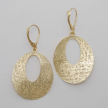 14K Yellow Gold Open Oval Earrings