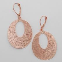 14K Rose Gold Flat Open Oval Potato Chip Earrings