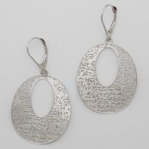 14K White Gold Open Oval Potato Chip Earrings
