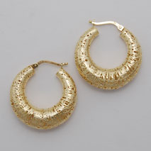 14K Yellow Gold Graduated Hoop Earring