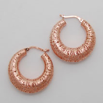 14K Rose Gold Graduated Hoop Earring