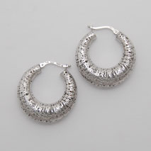 14K White Gold Graduated Hoop Earring
