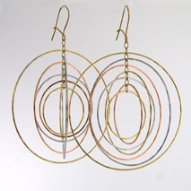 14K Tri-Color New 7 Ring Orbit Earrings