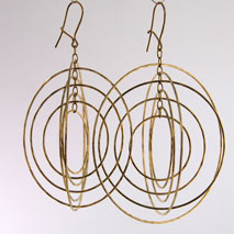 14K Yellow Gold New 7 Ring Orbit Earrings