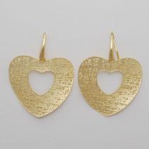 14K Yellow Gold Flat Heart Earrings w/ Cutout
