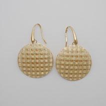 14K Yellow Gold Checkerboard Weave Earrings