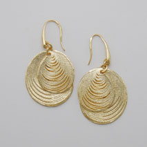 14K Yellow Gold Overlapped Circle Earrings