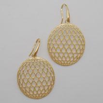 14K Yellow Gold Oval Weave Earrings