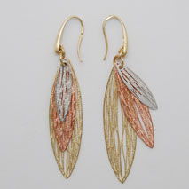 14K Tri-Color Triple Leaf Earrings