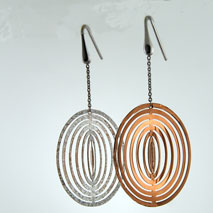 18K White Gold / Rose Gold Illusion Earrings