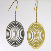18K Yellow Gold / White Gold Illusion Earrings