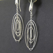 Sterling Silver Large Oval Orbit Earrings
