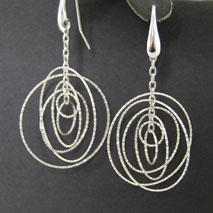 Sterling Silver Large Round Orbit Earrings