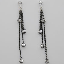 Sterling Silver Black Cable w/ Sterling Silver Moon Beads, 3 Strand