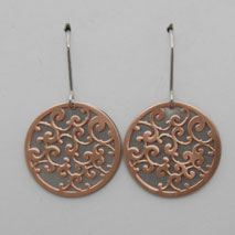 Rose Sterling Silver Laser Cut Florentine Disc Over Sterling Silver Disc