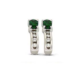 Genuine Emerald Diamond Earrings