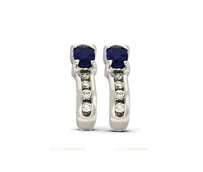 Genuine Sapphie and Diamond Earrings
