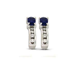 Genuine Sapphie and Diamond Earrings