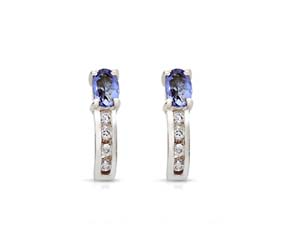 Genuine Tanzanite and Diamond Earrings 5/8 Carat Total Weight