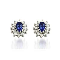 Tanzanite and Diamond Cluster Earrings 1.46 Carat Total Weight