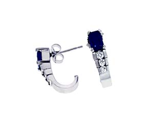 Sapphire and Diamond J Style Earrings