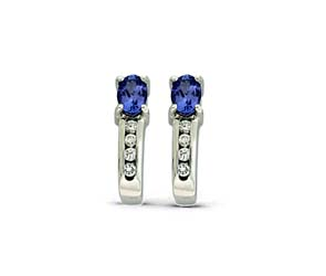 Oval Cut Tanzanite and Diamond Earrings