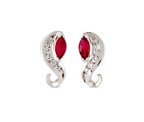 Ruby Marquise and Diamond S Shape Earrings