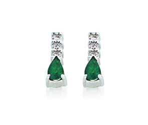 Genuine Emerald Pear Shape Diamond Earrings