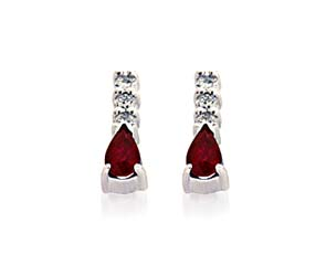 Genuine Pear Shape Ruby and Diamond Earrings