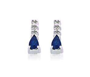 Genuine Pear Shape Sapphire and Diamond Earrings