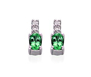 Genuine Oval Cut Emerald Diamond Earrings