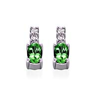 Genuine Oval Cut Emerald Diamond Earrings 1.0 Carat Total Weight