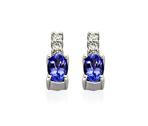 Genuine Oval Cut Tanzanite Diamond Earrings