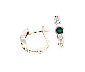 Genuine Emerald and Diamond Fashion Earrings