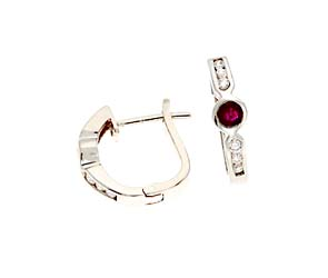 Genuine Ruby and Diamond Fashion Earrings