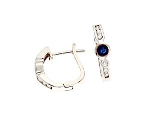 Genuine Sapphire and Diamond Fashion Earrings