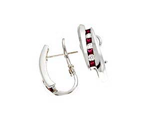 Genuine Princess Cut Ruby and Diamond Earrings