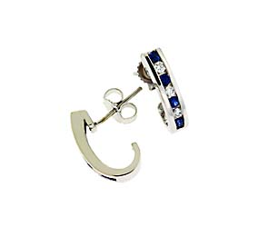 Genuine Blue Sapphire Diamond Earrings