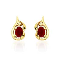Oval Shape Ruby and Diamond Earrings 1.25 Carat Total Weight