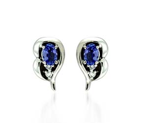 Oval Shape Tanzanite and Diamond Earrings