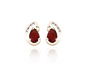Pear Shape Ruby and Diamond Earrings