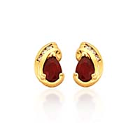 Pear Shape Ruby and Diamond Earrings 1.0 Carat Total Weight