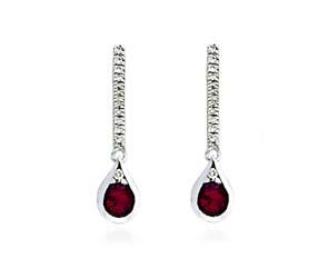 Ruby & Diamond Drop Earrings 1.6 Carat Total Weight